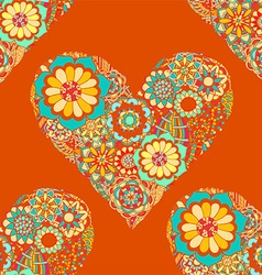 Bright orange love heart floral pattern vector