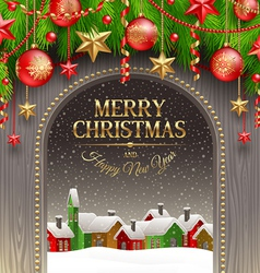 Christmas decor with baubles vector image