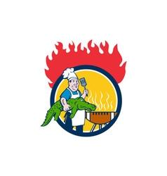 Chef Alligator Spatula BBQ Grill Fire Circle vector image