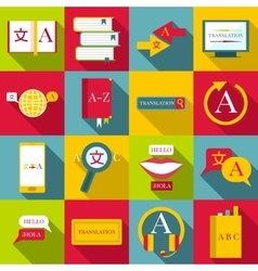 Translator profession icons set flat style vector