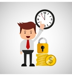 Business man secure money coins clock vector