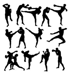 Thai boxing sport activity silhouettes vector