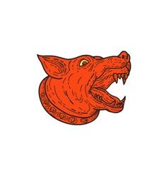 Mad Mongrel Dog Head Barking Mono Line vector image