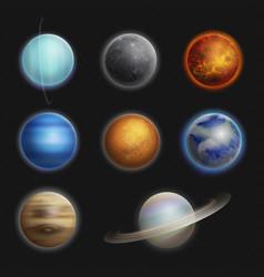 Solar system planets realistic set isolated vector