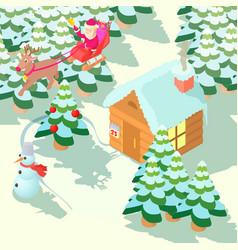 christmas house concept cartoon style vector image