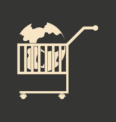 Flat black and white earth in the cart vector