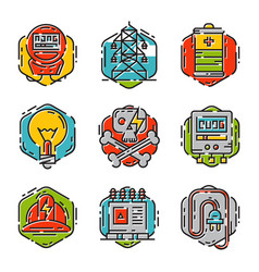energy outline colorful style and resource icon vector image