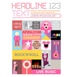 Rock concert flyer design vector