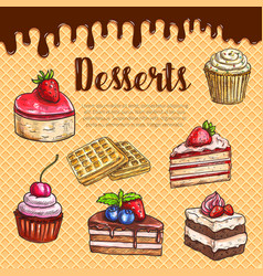Waffle poster with dessert cake pies vector
