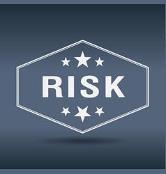 Risk hexagonal white vintage retro style label vector