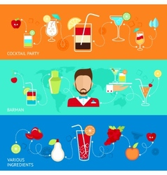 Cocktails flat banners vector image