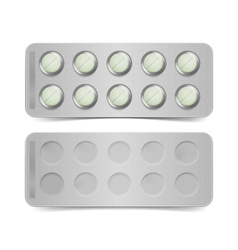 Pack of green pills isolated on white vector
