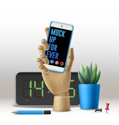 Workspace mock up with phone vector
