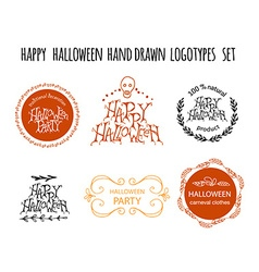 Happy halloween hand drawn logotype set vector
