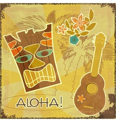 Retro Hawaiian postcard vector image