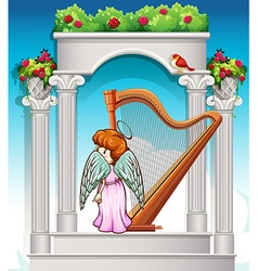 Angel with harp in heaven vector