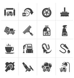 Black car wash objects and icons vector
