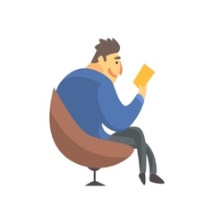 Businessman top manager in a suit reading in vector