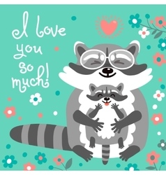 Card with cute raccoons and a declaration of love vector image