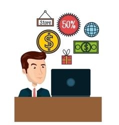 Cartoon man e-commerce laptop desk isolated design vector