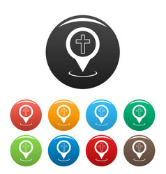 church map pointer icons set vector image