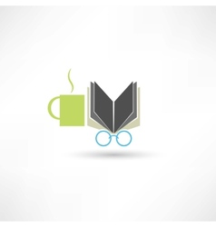 Coffee book and glasses vector
