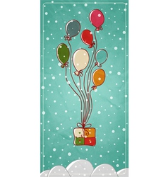 Colored balloons tied to a gift box vector image vector image
