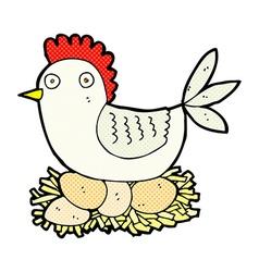 Comic cartoon hen on eggs vector
