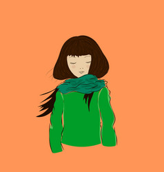 Cute winter girl with closed eyes dressed in green vector
