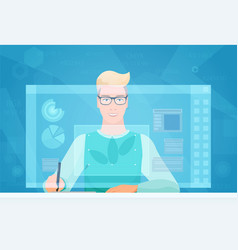 Designer man working using virtual media interface vector