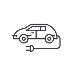 electric car linear icon sign symbol on vector image