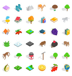 fauna icons set isometric style vector image vector image