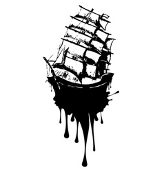 Frigate ship grunge vector