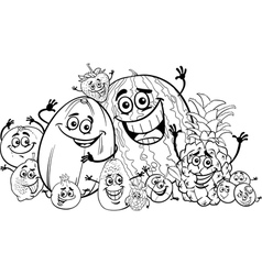 funny fruits cartoon for coloring book vector image