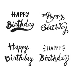 Happy birthday brush hand lettering typography vector