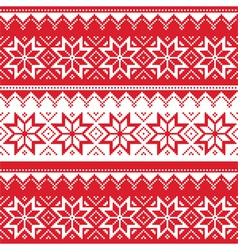 Nordic seamless christmas red pattern vector