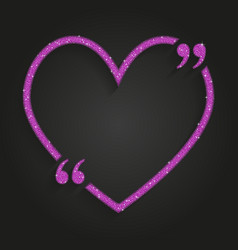 pink sequin heart quote love valentine day vector image