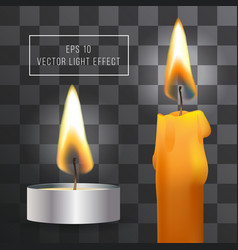 realistic flame candle set on transparent vector image