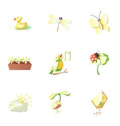 Season spring icons set cartoon style vector