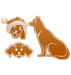 set dog gingerbread cookie christmas ginger snap vector image