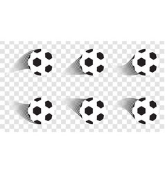 set of soccer balls football shot goal sport vector image vector image