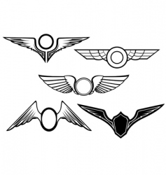 set of wing symbols vector image vector image