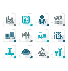 Stylized business factory and mill icons vector