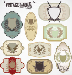 vintage labels with laurel wreaths and shields vector image vector image