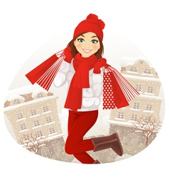 Winter shoping girl vector image vector image