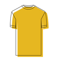 Yellow watercolor silhouette of t-shirt man vector