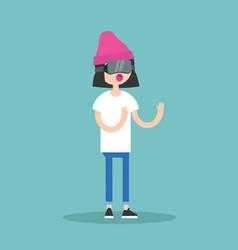 Young teenage girl wearing virtual reality vector