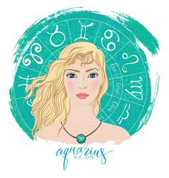 zodiac signs aquarius in image of beauty girl vector image