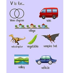 Many words begin with letter v vector