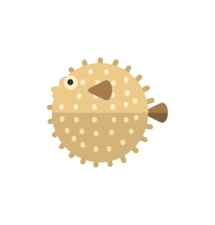 Purcupine fish primitive style childish sticker vector